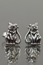 925 Sterling Silver Cat Stud Earrings