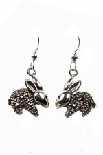 925 Sterling Silver & Marcasite Rabbit Dangly Earrings