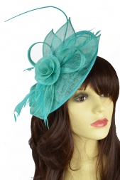Aqua Blue/Green  Blue Large Hairband & Clip Fascinator