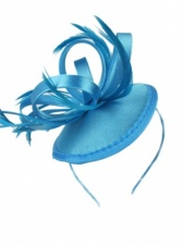 Turquoise Satin Loop & Feather Hairband Fascinator