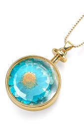 Long Gold Necklace & Blue Pressed Flower Pendant