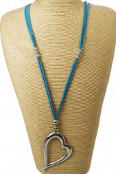 Off Set Long Heart Necklace with Turquoise Suede Cord