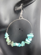 Turquoise Stone Chip Hoop Fashion Earrings