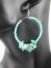 Turquoise Stone Cluster Hoop Fashion Earrings