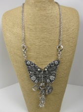 Very Large Silver Butterfly Costume Necklace with Charms