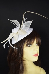 Cream & White Flower Hat Fascinator with Quill & Hairband