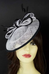 White & Black Saucer Hat with Bow & Hairband