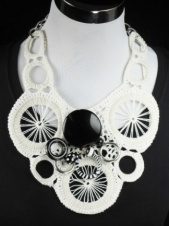 White and Black Crocheted Large Statement Bib Necklace