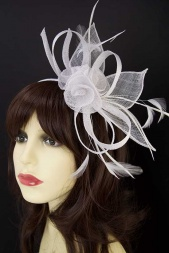 White Bow & Flower Hairband & Clip Fascinator