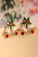 Christmas Bell Stud Earrings with Crystals with Gift Box