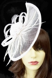 Large White Contemporary Style Fascinator