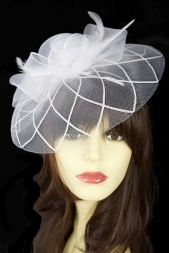 White Crinoline Fascinator with Clip & Hairband