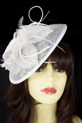 White Saucer Hat Hairband & Clip Hat Fascinator