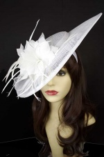 Large White Saucer Hairband Hat with Feather Flower
