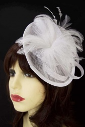 White Small Hat Fascinator with Hairband & Clip