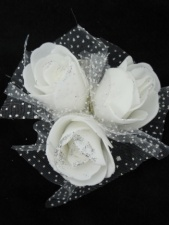 Pretty White Rose Bud Cluster Hair Grip