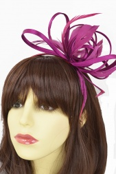 Dark Pink Pretty Hairband Fascinator with Satin & Feathers