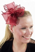 Wine Chiffon Bow & Feather Hairband Fascinator