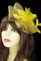 Yellow Crinoline Bow & Feather Flower Fascinator