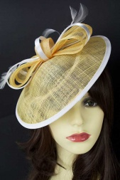 Buttercup Yellow & White Saucer Hat with Bow