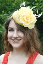 Yellow  Hat Fascinator with Flower & Feathers