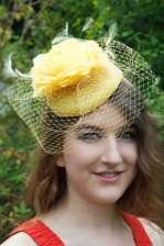 Yellow Hat Fascinator with Flower & Birdcage Veil