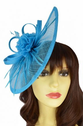 Large Turquoise Blue Contemporary Hat Fascinator