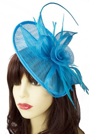 Turquoise Blue Hat Fascinator with Hairband & Clip