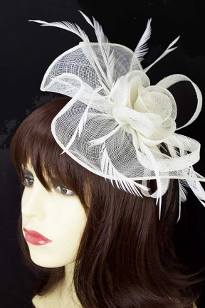 Large White Sinamay Hairband Fascinator