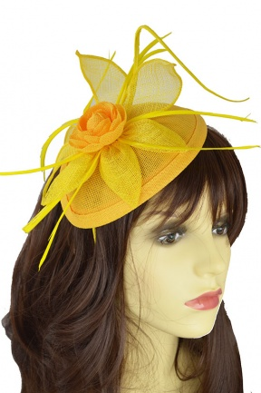 Yellow Flower & Quill Hairband Fascinator